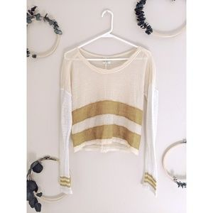 Free People Cream Yellow Cropped Striped Sweater
